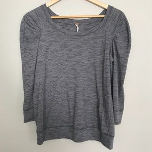 Free People Ruched Shoulder Top Size M